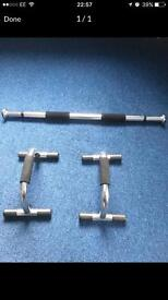 CHROME ADJUSTABLE CHIN UP BAR AND A SET OF CHROME PUSH UP BARS