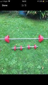 WEIGHTS SET / 36kg / DUMBELLS LONG BAR
