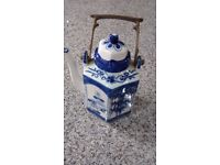 Blue and White Chinese Teapot with Brass handle.