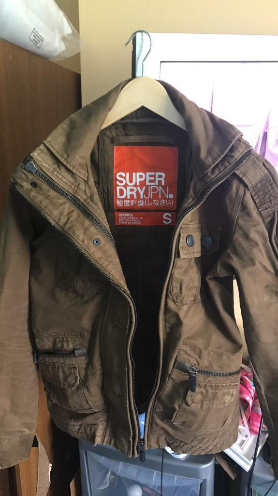 """Superdry Brown khaki coloured """"army"""" style jacket size Small"""