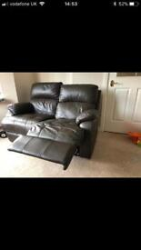 Brown leather settee reclining x2