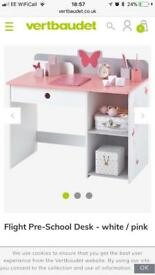 Pink and white butterfly pre-school desk