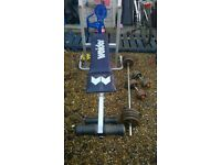 "weight bench ,barbell set 50 kg ,dumbbell""s 2 x 10 kg"