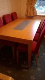 Dining table and 6 chairs and matching unit