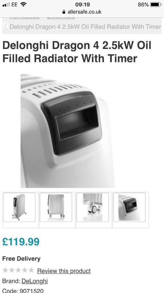 De Longhi Dragon 4 Oil filed radiator with Timer