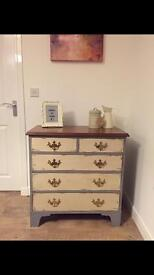 Fully refurbished solid chest of drawers, slightly distressed finish - free delivery Glasgow area