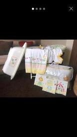mothercare nursery, cot bed set , Moses basket