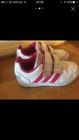 Girls Size 12 Nike white and pink trainers