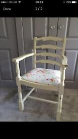 Cream vintage shabby chic wooden arm chair