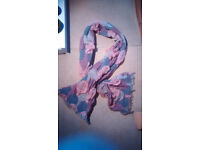 Pretty scarf, 200cm x 34cm apx, ideal for snuggling into for summer evenings, pretty colours, unused