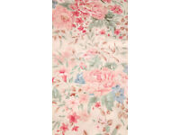 Single curtain, unused, L 180cm x W218cm, lovely floral pattern quality cotton pink cream green blue