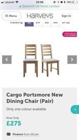 Harveys furniture portsmore dinning chairs (1x pair)