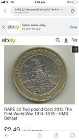 2015 £2 100th Anniversary Of The First World War Royal Navy Two Pound Coin