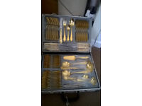 gold plated cutlery set in case