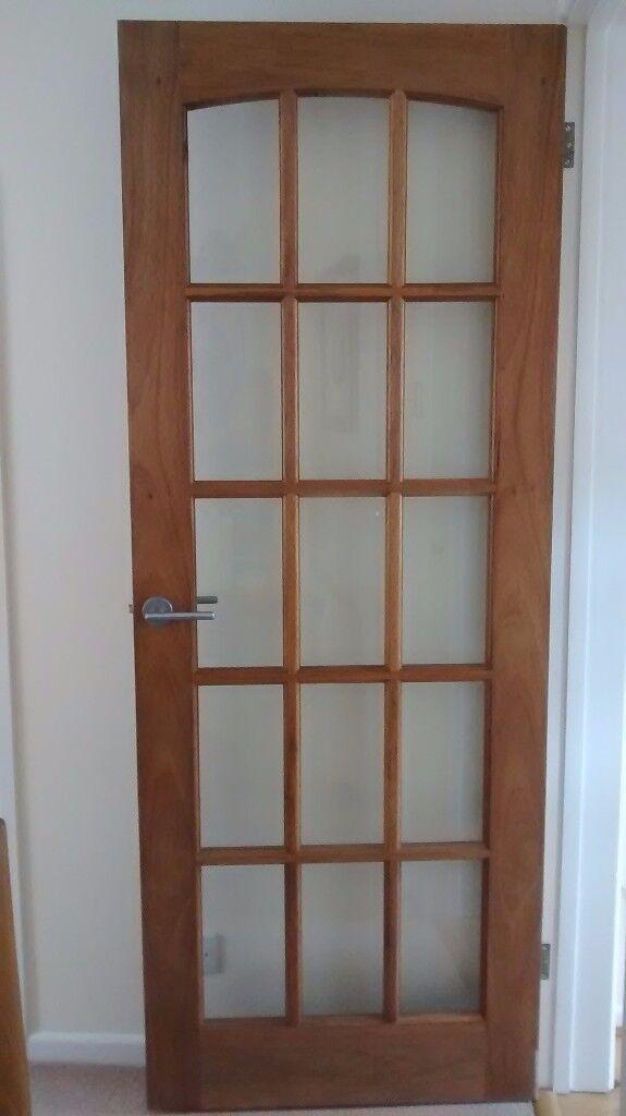 2 internal glass panelled oak doors