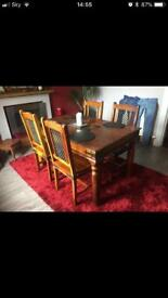 Solid wood sheesham 4 seat dining table and chairs