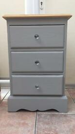 Solid pine bedside table drawers, grey