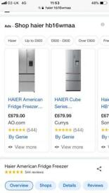 **Best Prices Guaranteed** New Haier American Style Fridge Freezer RRP £679!! Stainless a220