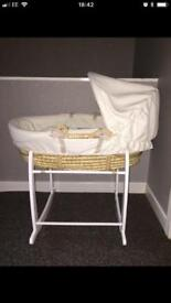 Mamas and Papas Moses basket & Clair de lune white wooden stand