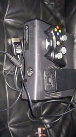 XBox 360 Black Slimline c/w 13 games,pad and leads