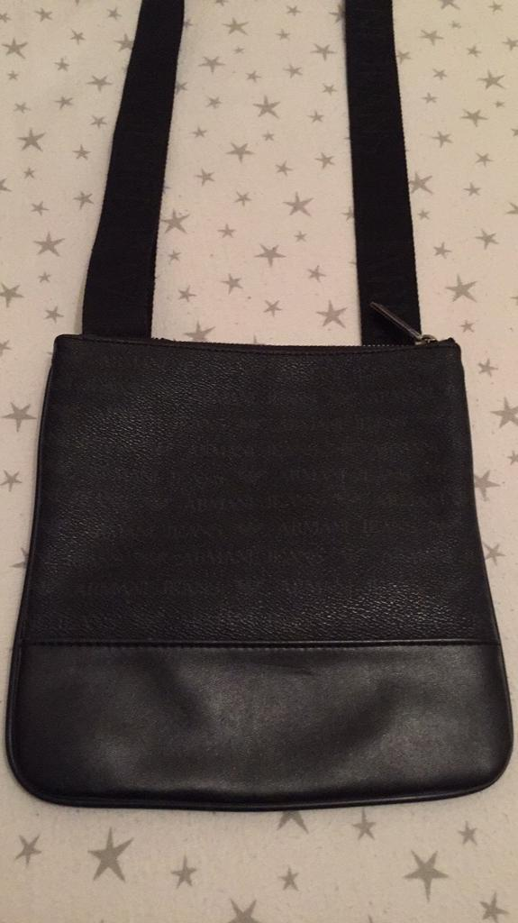 Mens Armani Jeans Black Leather Messenger Man Bag Pouch In