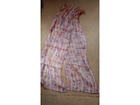 Ladies head/neck/hip scarf, pretty in pink and lilic & silver strips running through, 149cm x 24cm