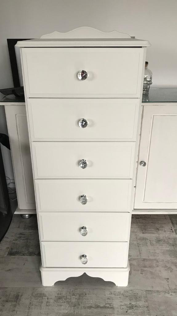 White Tallboy with crystal handles