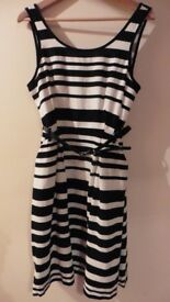 Black and white stripe FF dress size 12 with black belt - unworn