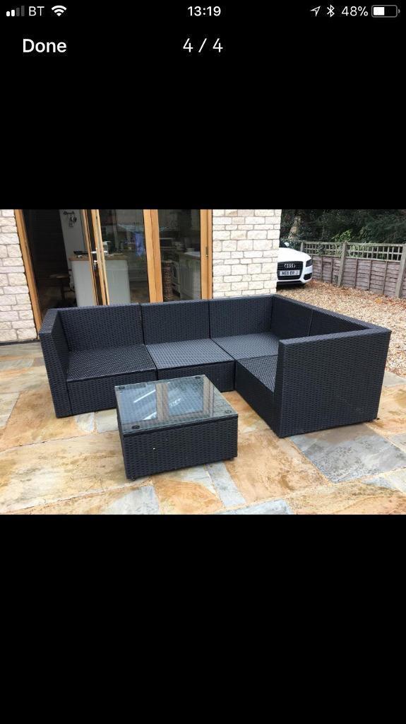 Black Rattan Garden Corner Set