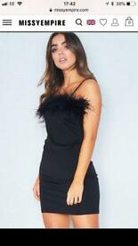 Eliana Black Feather Bust Strappy Mini Dress