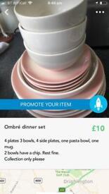 Ombré blush dinner set.