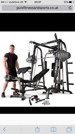 Marcy MD9010-G Smith Machine with 125kg Olympic Weights plus Olympic Barbell and punch bag