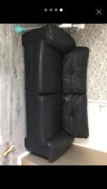 2 and 3 sofa black leather