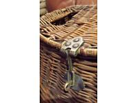 Antique Vintage Woven Wicker Creel Fishing Basket