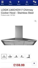 Logik Stainless Steel 90cm Chimney Cooker Hood New and Unused