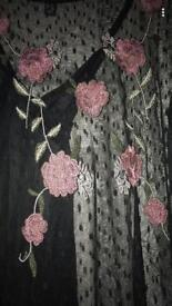 Black mesh floral dress