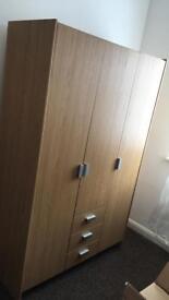 3 door, 3 draw wardrobe with shelves
