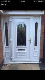 UPVC front door with two side panels