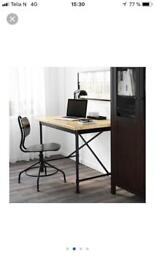 Pine/black desk with matching black swivel chair. In excellent condition.