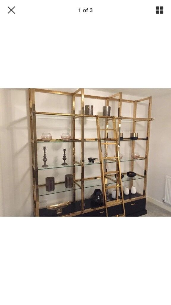 Brand new shelving unit / bookshelf. brass and