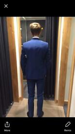 Moss Bros 3 piece blue suit in brand new pristine condition
