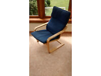 Poang IKEA Armchair Blue Fabric