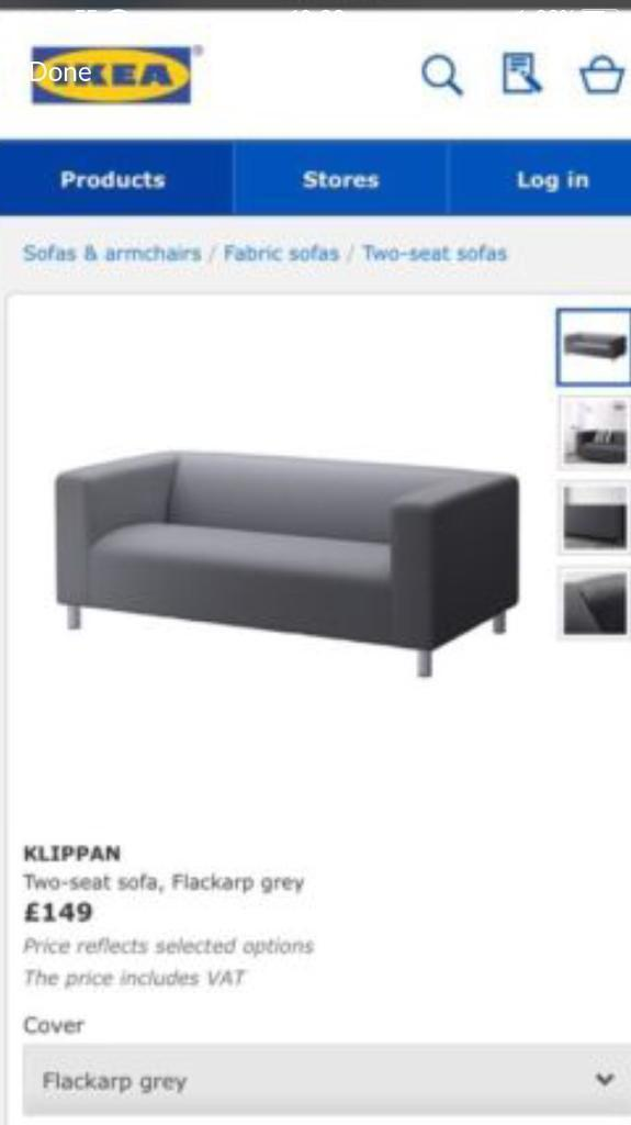 Ikea gray sofa with covers