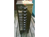 Vintage 10 drawer filing cabinet