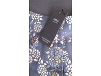 New Marks & Spencer Navy Floral Button-Front Skirt, 8R