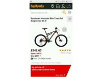 Mountain Bike - Boardman Bike Team - Halfords cost £950 Full Suspension 27.5 (BLACK AND ORANGE)