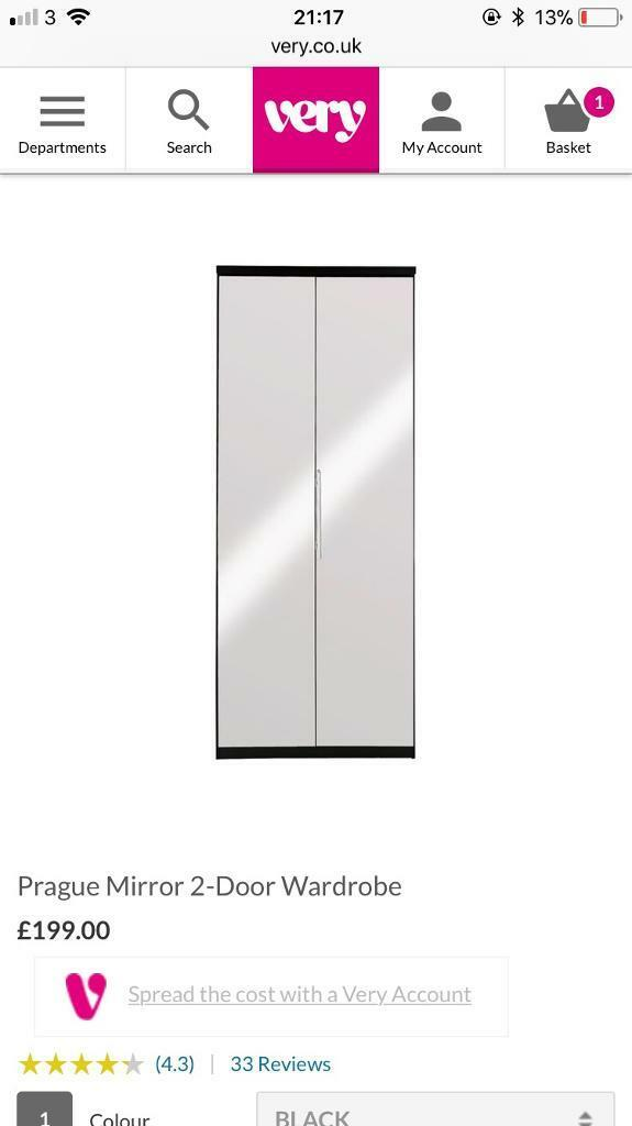 Mirror door wardrobe 'Prague range'