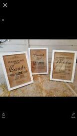 Lovely glass wooden framed wedding signs vgc