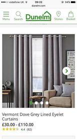 Dunelm 'Vermont' Grey Curtains