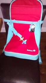 Folding portable baby chair pink and blue excellent condition - like new